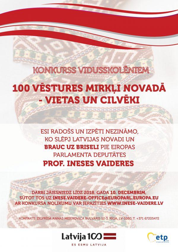 Konkurss - 100 vēstures mirkļi novadā - vietas un cilvēki 2018